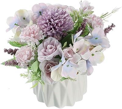 Gumolutin - Juego de florero de flores artificiales de seda con forma de hortensias de rosas de cerámica para decoración de centros de mesa, color morado