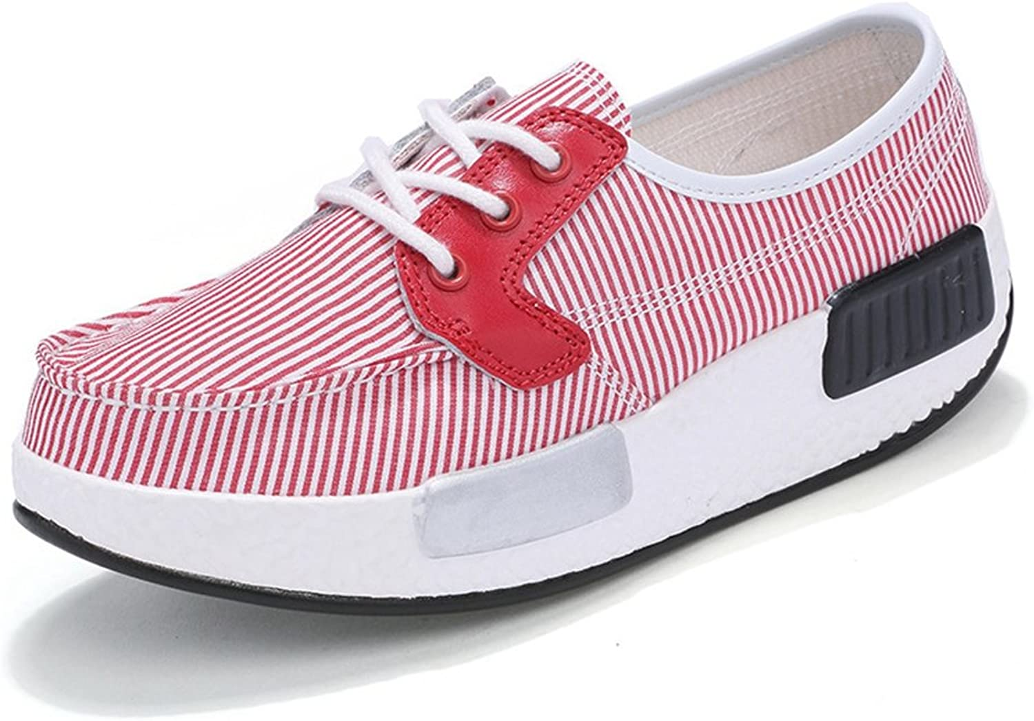 CYBLING Stripe Low Top Sneaker for Women Casual Platform Increased Height Canvas shoes