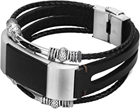somoder for Fitbit Charge 2 Bands, Handmade Vintage Fashion Alloy Leather Bracelet for Fitbit Charge 2, Adjustable Size 5.5