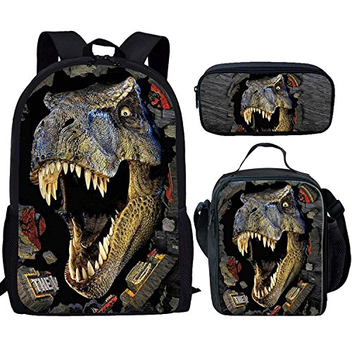 HUGS IDEA T-rex Dinosaur Backpack Teen Boys School Book bag with Lunch Box Pen Case 3 in 1