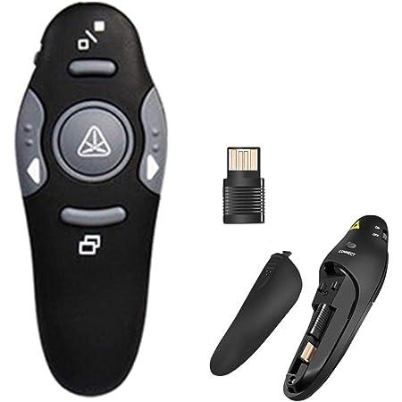 COSORO Télécommande de présentation sans fil, 2,4 GHz avec pointeur laser rouge, pour PPT/Keynote/Prezi/OpenOffice/Windows/Mac OS/Android/Linux Portée jusqu'à 15 m