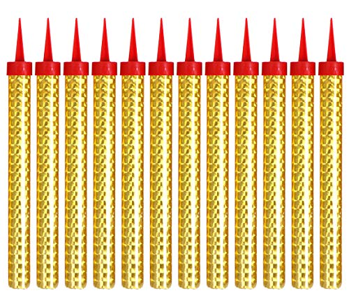 12 Pcs Birthday Candles, Gold Cake Decorating Candles Used for Birthday Cake, Party, Wedding, Night Club