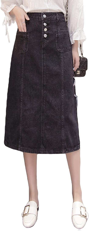 Itemnew Women's Stylish High-Waist Side-Split CRIS-Cross Pockets Denim Midi Skirt