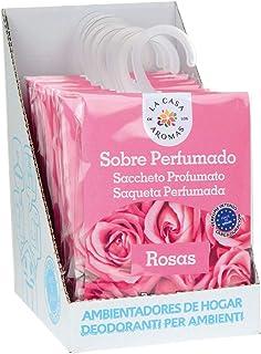 Set de 12 Sobres Perfumados, Bolsitas Aromáticas Olor Rosas, Saquitos para el Armario, Cajón, Ropa de Bebé, Zapatero, Maleta