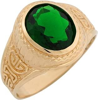 Jewelry Liquidation 14k Yellow Gold Greek Design Simulated Birthstone Mens Ring