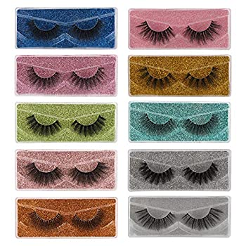 Lashes False Eyelashes Natural Look 3D Faux Mink Eyelashes Pack 10 Styles with 10 Portable Boxes