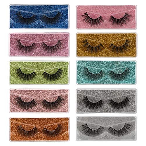 False Lashes Natural 3D Faux Mink Eyelashes Pack 10 Styles with 10 Portable Boxes