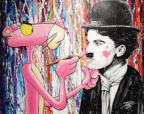 Aaubsk Puzzle 1000 Piezas Graffiti Arte Moderno Pintura Rosa Leopardo Imagen Puzzle 1000 Piezas Animales Educativo Divertido Juego Familiar para niños Adultos Rompecabezas educativo50x75cm(20x30inch)