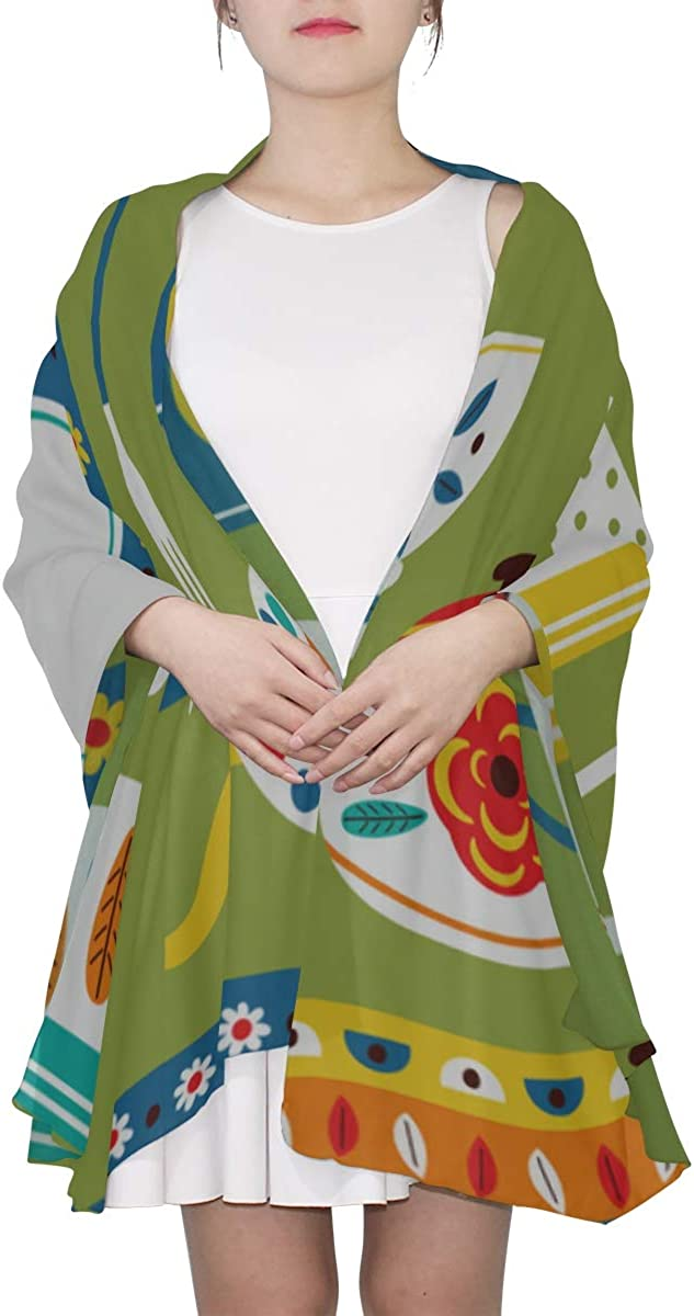 Shawl Wrap Scarf Bowl Plate Fork Eating Supply Scarf For Teens Hair Scarf For Women Lightweight Print Scarves Fashion Scarf Lightweight Large Scarf For Women