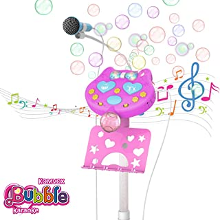 KOMVOX Kids Microphone with Stand, Kids Karaoke Machine with Bubble Function, Pink Gift Little Girls Microphones for Singing, Toys for Girls Age 5 6 7 8, Ideal Birthday for Girls Sisters