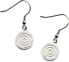 Marvel Women's Stainless Steel Captain America Shield with Clear CZ Dangle Earrings