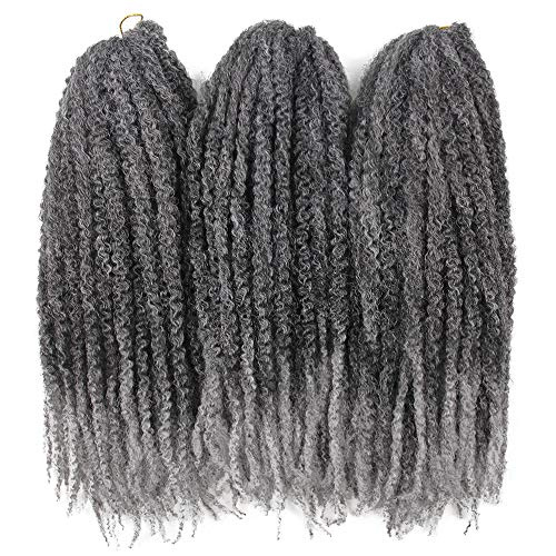 3Packs Afro Kinky Twist Crochet Hair Braids Marley Braid Hair 18inch Senegalese Curly Crochet Synthetic Braiding Hair (Ombre Grey)