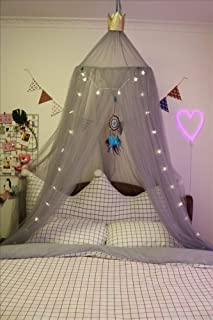 HOMEJYMADE Princess Bed Canopies for Girls with Sparkly Stars,Nordic in The Play House Princess Tent Polyester Dome Bed Canopy-E