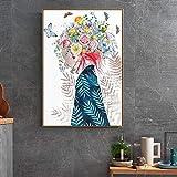 ganlanshu Sala de Estar Chica Dormitorio decoración del hogar Pintura Abstracta de la Lona de la Muchacha Cartel de Imagen de Arte de Pared HD,Pintura sin Marco,45x67cm