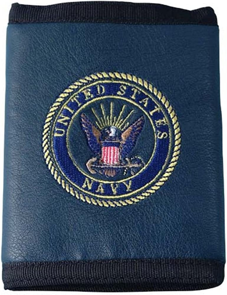 U.S. Navy Logo Direct Embroidered on Ultra Leather Fabric Tri Fold Wallet