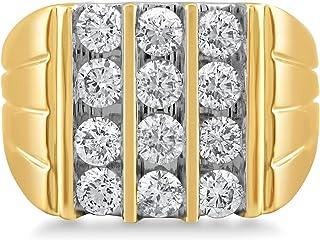 Jewelili 10K Yellow Gold 2 1/2 Cttw Natural White Round Diamond Mens Ring, Size 10
