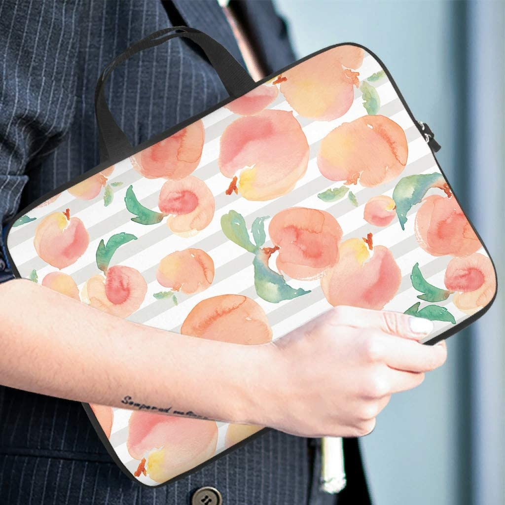 Watercolor Art Peach Fruits Laptop Sleeve Fashion Double-Sided Printed Laptop Computer Sleeve Slim Polyester Laptop Computer Carrying Case for College Students White 13inch