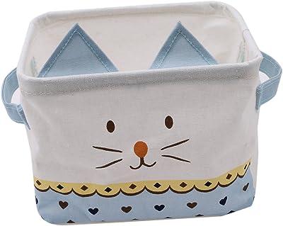 VWH Kitten Ear Cotton Handle Waterproof Storage Basket Clothes Desktop Debris Storage Organizer (Blue)