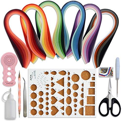 JUYA Papier Quilling Kits mit 30 Farben 600 Strips und 8 Werkzeuge Rosa Werkzeuge, Papierbreite 3mm