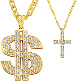 Gold Necklace Chain with Large Dollar Sign Plated Pendant for Men with Small Cross Pendant Necklace, Hip Hop Dollar Necklace (2PCS)