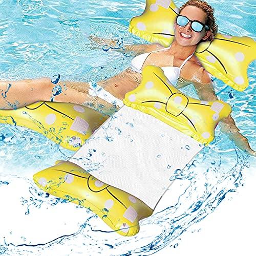 Esteopt Cama inflable, hamaca de agua, colchoneta hinchable para piscina, hamaca de agua, hamaca 4 en 1, para adultos y niños (amarillo)
