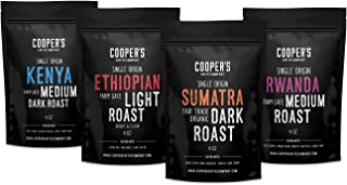 Gourmet Coffee Sampler Gift Box Set | Whole Bean Coffee 4 bags | 1lb Total | Organic Sumatra Dark, Kenya AA Medium-Dark, Rwanda Medium, Natural Ethiopian Medium-Light, 1lb Total