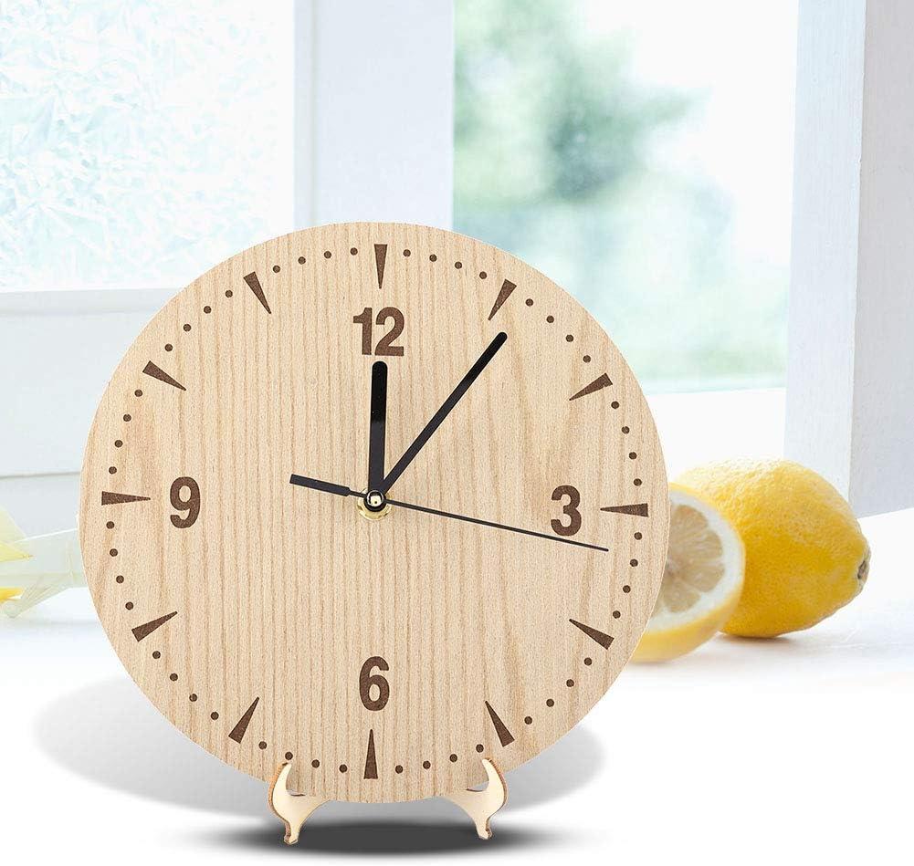 MAGT Horloge de Bureau Horloge analogique de Table Ronde en Bois de Haute qualit/é de Style r/étro pour Bureau de Chambre /à Coucher 12cm