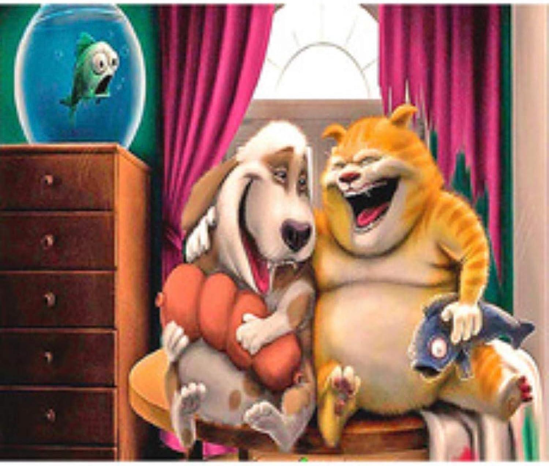 Lhycyn DIY Diamond Painting Living Room Painting, Cartoon Cat and Dog 5D Full Diamond Cross Stitch 50X60Cm