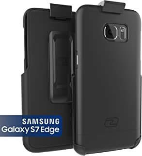 Encased Samsung Galaxy S7 Edge Belt Clip Case, Ultra Thin [SlimShield Series] Case & Holster (2016) Ultimate Style + Protection (Smooth Black)