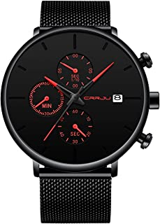 CRRJU Men's Fashion Analog Quartz Watch Simple Casual Dress with Black Mesh Steel Band Minimalist Wrist Watches for Gifts