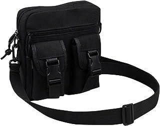 Ultramall Fashion Women's Retro Solid Color Large Capacity Multi-pocket Canvas Handbag Shoulder Bag For Women
