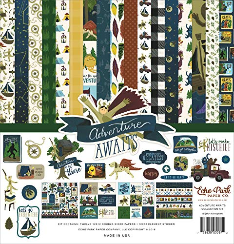 Echo Park Paper Company Adventure Awaits Collection Kit paper, blue, green, tan, red, gold
