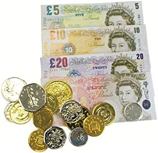 2 Packs Childrens Play Money - English Notes & Pounds / Euros Notes & Coins by Henbrandt