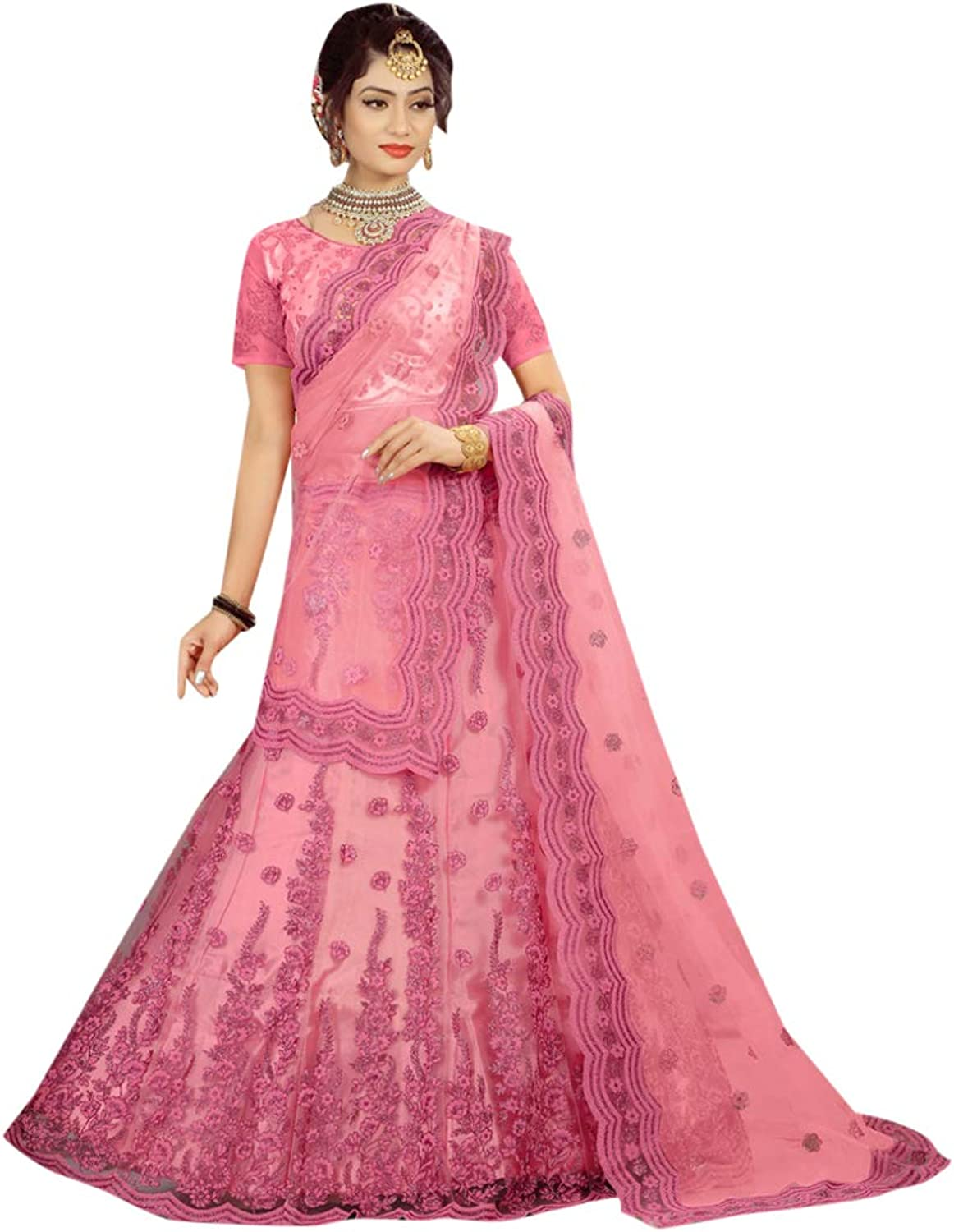Indian Ethnic Pink Lehenga With Chaniya Choli Designer Collection Evening Cocktail Party Wear 7307