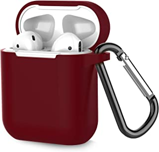 Airpods Case, Coffea AirPods Accessories Shockproof Case Cover Portable & Protective Silicone Skin Cover Case for Airpods 2 & 1 (Front LED Not Visible) - Burgundy