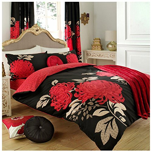 Gaveno Cavailia Luxury KEW Bed Set with Duvet Cover and Pillow Case, Polyester-Cotton, Black/Red, Double