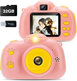 Kids Digital Camera for Girls ,Best Birthday Gifts for 3-8 Year Olds Girls,Toys for Girls Age 4 5 6 7 8,Kids Video Camera Recorder Camera Shockproof 8MP HD Toddler Cameras Pink (32GB Memory Card)