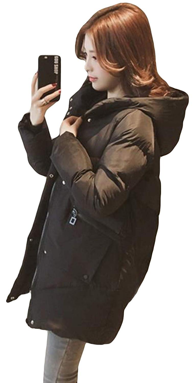 MengFan 冬服 コート レディース ダウンジャケット ロング 長袖 中綿コート 無地 フード付き 防寒服 シンプル アウター ゆったり bf風 厚手 あったか 韓国風