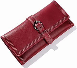Pusaman The New Simple Retro Buckle Clutch, Women's Fashion Long Paragraph Folded Wallet Multi-Card bit (Color : Red, Size : 19.5 * 1.5 * 9.7cm)