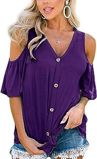Sunnyadrain Chemisier Femme Manches Longues T-Shirt Blouse Grande Taille Lin Bouton Chemise Tunique Femme T-Shirt Et/é Casual Manches Courtes Tee Shirt Pas Cher