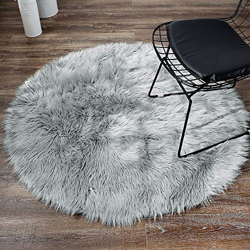 LEEVAN Plush Sheepskin Style Throw Rug Faux Fur Elegant Chic Style Cozy Shaggy Round Rug Floor Mat Area Rugs Home Decorator Super Soft Carpets Kids Play Rug (6 ft-Diameter, Light Grey)