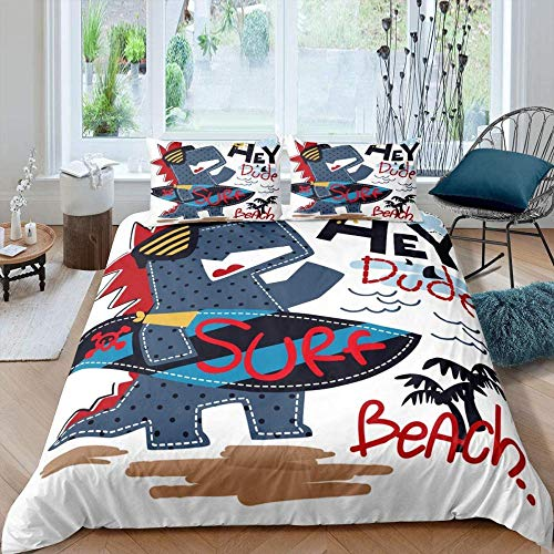 Bxooaceo Bedding Set,Duvet Covers Single Size Animal Dinosaur Surfboard Trees Alphabet Style Pattern 3D Printing Ultra Soft Microfibre Duvet Cover Quilt Bedding Set With Zipper Closure + 2 Pillowcas