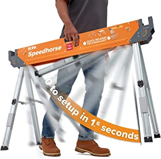 Bora Portamate Speedhorse Sawhorse - Single Piece Table Stand with Folding Legs, Metal Top for 2x4, Heavy Duty Pro Bench S...