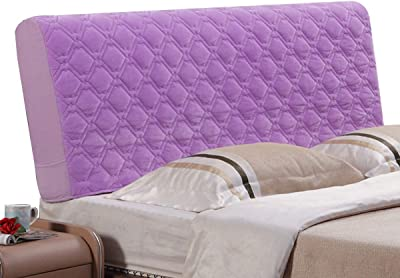 Bed Headboard Cover Protector Slipcover for Bed Headboard Dustproof High Stretch Bed Head Cover for Bedroom Decor, Washable (Color : Purple, Size : 120cm)