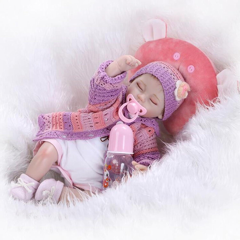 Lebensechte Reborn Baby Puppe Weiche Simulation Silikon Tuch Krper Magnetische Mund Augen ffnen Junge Mdchen Spielen Spielzeug Weihnachten Geburtstag Festliche Geschenk 16,5 Zoll 42Cm HOJZ