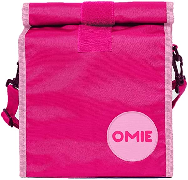 OmieBox Lunch Bag Washable Velcro Rolltop Reusable Nylon Lunch Tote With Adjustable Strap 14 5 X 9 Inches Pink