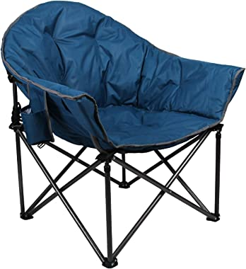 ALPHA CAMP Oversized Camping Chairs Padded Moon Round Chair Saucer Recliner Supports 450 lbs with Folding Cup Holder and Carr