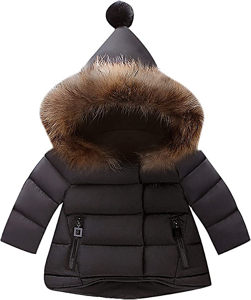 BPrincess Kids White Or Black Quilted High Low Fur Lined GNOME Hood Warm Jacket