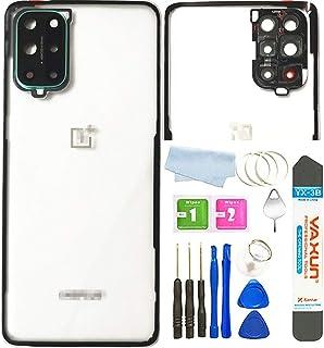 غطاء خلفي من Oneplus 8T مع عدسات زجاجية للكاميرا/فلاش لهواتف OnePlus 8T 5G KB2000 KB2005 (شفاف)