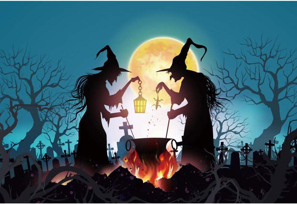 OERJU 12x10ft Halloween Night Background Full Moon Witchs Burning Bonfire Graveyard Tomps Photography Backdrop Scary Halloween Party Boys Girls Adults Portrait Photo Studio Props Vinyl Wallpaper